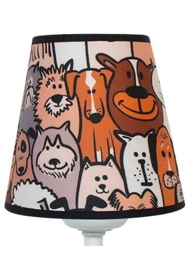 Şenay Aydınlatma Masa Lambası Kumaş K.Abajur-Sevimli Köpekler Renkli